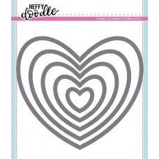 Kovinska šablona - Heffy Cuts - Stitched Hearts - Heffy Doodle