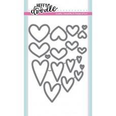 Kovinska šablona - Heffy Cuts - Whole Lotta Hearts - Heffy Doodle