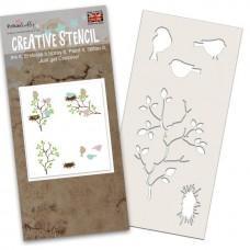 Plastična šablona - Bird in the Bush Stencil - Polkadoodles