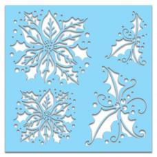 Plastična šablona - Poinsettia Holly 6x6 Inch - Polkadoodles