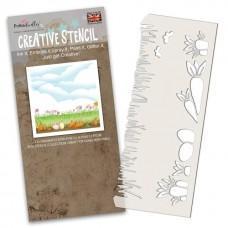 Plastična šablona - Spring Border Stencil - Polkadoodles
