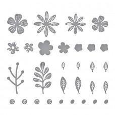 Kovinske šablone - Mini Blooms and Sprigs Etched Dies - Spellbinders