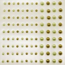 Self-Adhesive Half-Pearls - Light Yellow & Moss Green