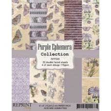 Reprint - Purple Ephemera Collection - 6x6 Inch Paper Pack