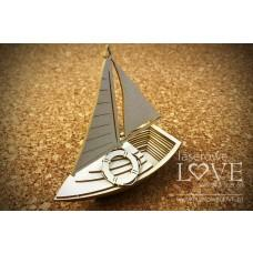 Sailboat 3D - Vintage Tropical Island - Laserowe LOVE