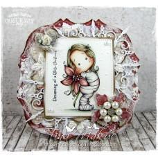 OOAK Handmade Greeting Card - Poinsettia Tilda