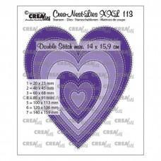 Crea-Nest-Lies XXL Dies no.113 - Slim hearts with double stitch
