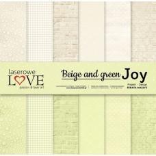 Set of papers - Beige and green JOY - 30,5 x 30,5 cm - Laserowe LOVE