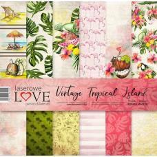 Set of papers - Vintage Tropical Island - 30,5 x 30,5 cm - Laserowe LOVE