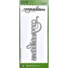 Slim Line Congratulations Word Die - Picket Fence Studios