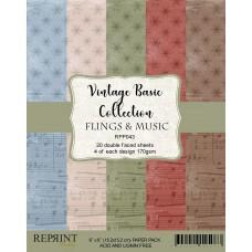 Reprint - Flings & Music Vintage Basic Collection - 6x6 Inch Paper Pack