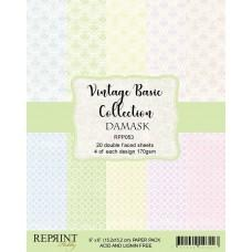 Reprint - Vintage Basic Collection - Damask - 6x6 Inch Paper Pack