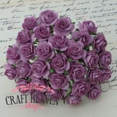 Dark Lilac Mulberry Paper Open Roses - 20mm