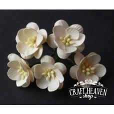 2-Tone Deep Ivory Mulberry Paper Cherry Blossoms - 25mm