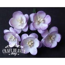 2-Tone Lilac Mulberry Paper Cherry Blossoms - 25mm