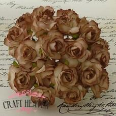 Brown Mulberry Paper Wild Roses - 30mm