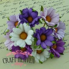 Mixed Purple/Lilac/White Mulberry Paper Chrysanthemums - 45mm