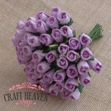 Lilac Mulberry Paper Rosebuds - 8mm