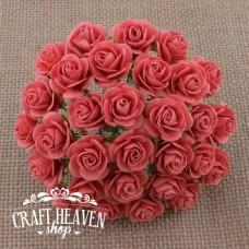 Coral Mulberry Paper Open Roses - 20mm