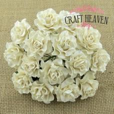 Ivory Tuscany Mulberry Paper Roses - 30mm