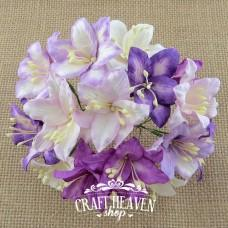 Mixed Purple/Lilac and White Mulberry Paper Lily Flowers - 30mm