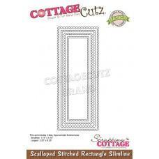 Scalloped Stitched Rectangle Slimline - Cottage Cutz